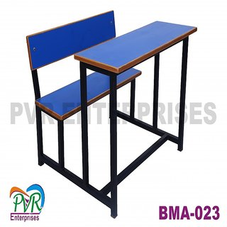 Attached colorful bench desk with wooden border for kids