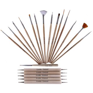 Looks United Pack Of 15 Wooden Nail Art Brushes And 5 Two Way Dotting Tools ( Pack of 20 )