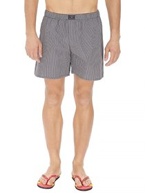KARPA Grey and Black Chequered Cotton Boxer for Men