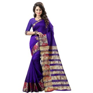 Genius Creation Purple Tussar Silk Self Design Saree With Blouse