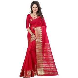 Genius Creation Red Cotton Self Design Saree With Blouse