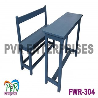 Full wood separate bench desk with back rest for higher class