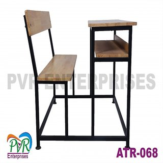 Attached bench desk with back rest book rack for higher class