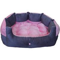 Petitude Reversable Dual (Pink  Grey)color Ultra Soft Ethenic Designer Velvet Bed For Dog  Cat(Export Quality)-Small
