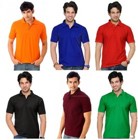 Lime New Design Cotton Half Sleeves Men's Six Polo T-Shirts Combo