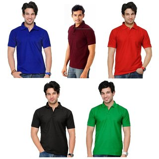 Lime Attractive Cotton Half Sleeves Men's Five Polo T-Shirts Combo