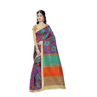 Rainbow Clothing Co Multicolor Bhagalpuri Silk Printed Saree With Blouse