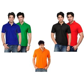 Lime Stunning Cotton Half Sleeves Men's Five Polo T-Shirts Combo