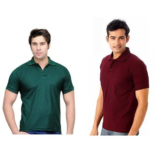 Lime Newest Cotton Half Sleeves Men's Two Polo T-Shirts Combo