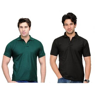 Lime Ravishing Cotton Half Sleeves Men's Two Polo T-Shirts Combo