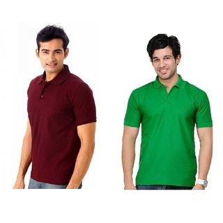 Lime Splendid Cotton Half Sleeves Men's Two Polo T-Shirts Combo