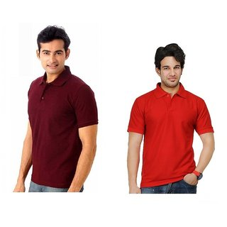 Lime Stunning Cotton Half Sleeves Men's Two Polo T-Shirts Combo