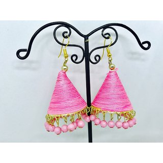 Pink colour Jhumki Traditional Silk Thread Jewellery Stylish Single Pair Earrings For Girls and Women