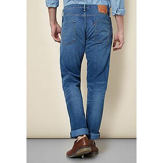 Levis Blue Solid Regular Fit Jeans for Men