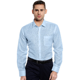 RG Designers Blue Solid Slim Fit Formal Shirt-RGS10793LightBlue