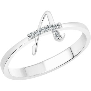 Vighnaharta initial ''A'' Alphabet (CZ) Rhodium Plated Alloy Ring For Women and Girls