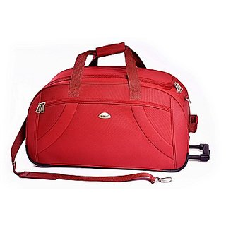 Timus Samprass 65 Cm Red 2 Wheel Duffle Trolley Bag For Travel (Check In -Medium Luggage)�