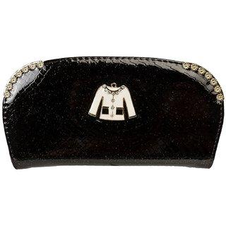 Louise Belgium Black Plain Zipper Clutch