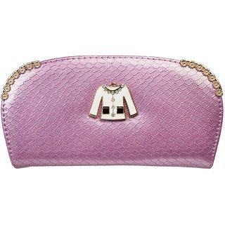 Louise Belgium Purple Plain Zipper Clutch