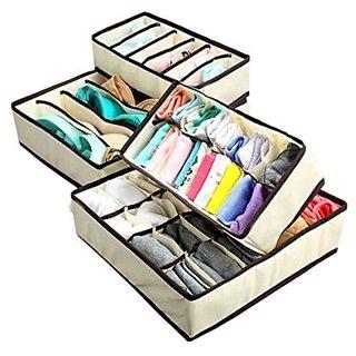 Set of 4 Storage Organiser / Travel Organiser for Socks, Under Garments, Bra, T-Shirts etc. - Cream