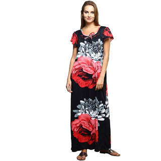 Grand Bear Floral Print Nighty For Women