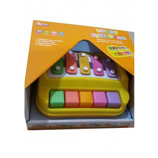 xylophone baoli 5 keys Yellow Toy 18 Months + Gift Happy Xylophone Safe Fun Toy for Children Hammer Sticks for Rhyme