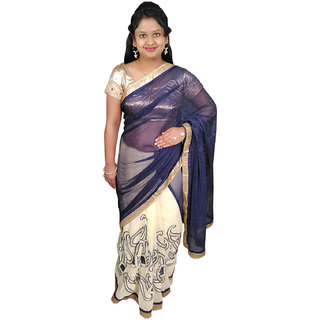 Femza Multicolor Brasso Embroidered Saree With Blouse
