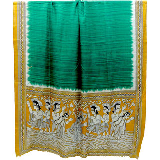 Madhubani Art Design Printed Dupatta Green