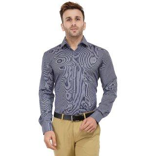 RG Designers Micro Checks Blue  Grey Solid Slim Fit Formal Shirt For Men-46