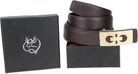 Genious Brown 042 Leather Formal Belt For Men