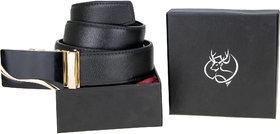 Genious Black 048 Leather Formal Belt For Men