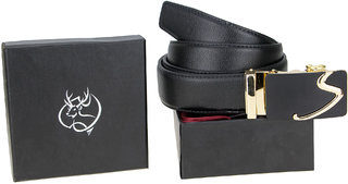 Genious Black 045 Leather Formal Belt For Men