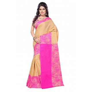 Satyam Weaves Beige & Pink Cotton Self Design Saree With Blouse