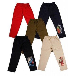 Om Shree Plain Cotton Track Pants For Kids (Set Of 5)