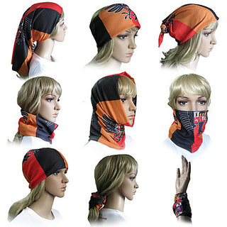 FabSeasons Multipurpose 9 in 1 Multicolor Cotton Headwrap and Face wrap