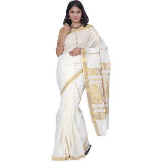 Fashionkiosks lavish Pure White Colour Kerala Cotton Kasavu Jari Pallu and Jari Border Saree with Blouse 420172036