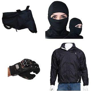 Combo For Summer Bike Cover Pro Biker Gloves Full Face Mask Black Wind Chea