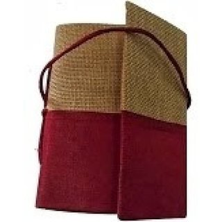 Indha Craft A6 Diary  (Jute Dupion Bahi Folding, Red)