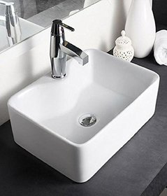 Hindware Vasca 91066 Ceramic Table Top Basin (White ,One Piece)
