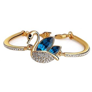 Om Jewells Austrian Blue and White Crystals Swan Bangle Bracelet Designed for Girls and Women BR1000006