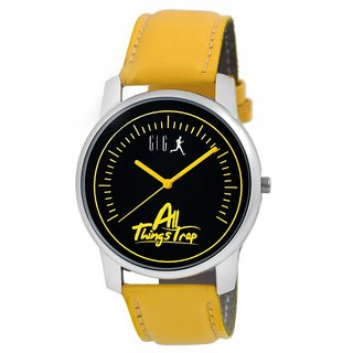 GUG G-21 Yellow Black Stick Marker Analogue Wrist Watch For Men And Boys