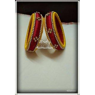 Krafty aabhushan yellow and red mix Kada set of 2