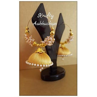Gorgeous golden hoop jhumkas with loreals for women