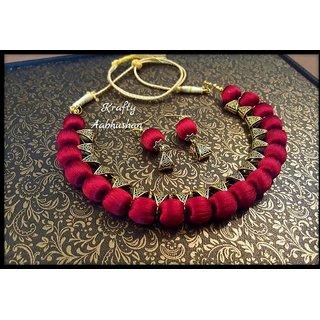 Krafty aabhushan Silk thread antique bail necklace in maroon colour.