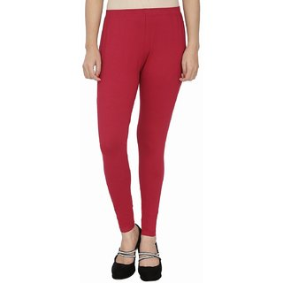 Cotton Ankle Red Length Leggings