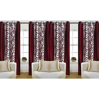 Vivek Homesaaz maroon polyester classic  window  curtains 4X5 set of  four