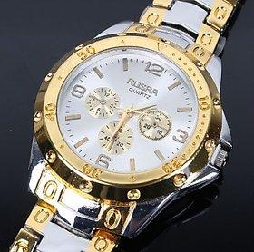 Rosra Watch For Men Golden Silver White Dial For Men,Bo