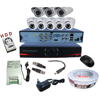 8 CCTV Camera Combo (5 Dome + 3 Bullet Analog  CCTV Camera) with 1TB Hard Disk Drive