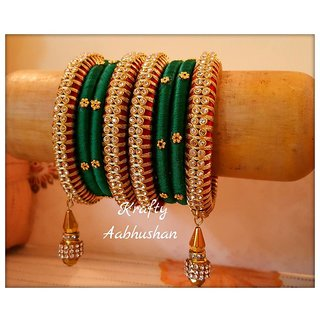 Grand set of red green silk thread bangles with latkans