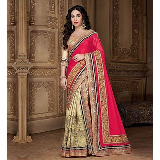 Palash Fashion Red Chiffon Embroidered Saree With Blouse